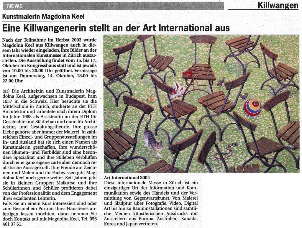 Eine Killwangenerin stellt an der Art International aus